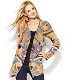 INC International Concepts Petite Open-Front Draped Printed Cardigan
