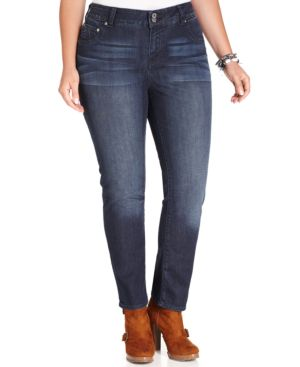 Lucky Brand Plus Size Emma Tummy-Control Straight-Leg Jeans, Cats Eye Wash