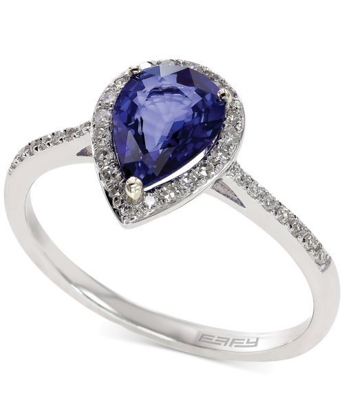 Royale Bleu by Effy Diffused Sapphire (1 ct. t.w.) and Diamond (1/6 ct. t.w.) Pear Ring in 14k White Gold
