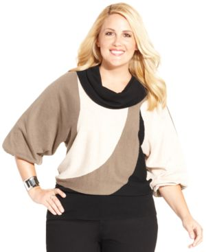 Style & co. Plus Size Cowl-Neck Colorblock Sweater