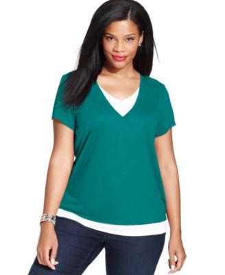 Style&co. Plus Size Short-Sleeve Layered Tee