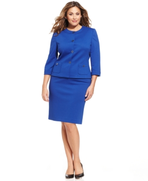 Tahari ASL Plus Size Collarless Ponte-Knit Skirt Suit