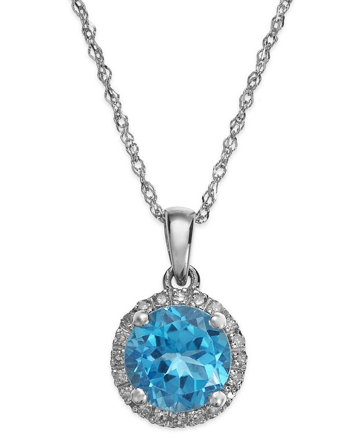 Macy's - Blue Topaz (1-1/2 ct. t.w.) and Diamond Accent Pendant Necklace in 14k White Gold