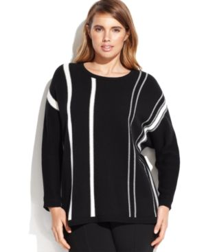 Calvin Klein Plus Size Long-Sleeve Striped Sweater