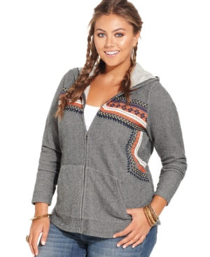 Lucky Brand Plus Size Embroidered Hoodie