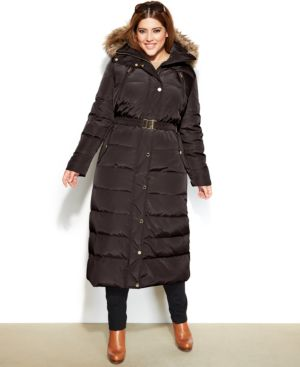 Michael Michael Kors Plus Size Hooded Faux-Fur-Trim Belted Down Maxi Puffer