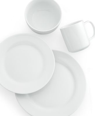 The Cellar Whiteware Rim 4-Piece Place Setting