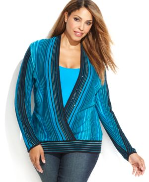 INC International Concepts Plus Size Embellished Striped Surplice Sweater