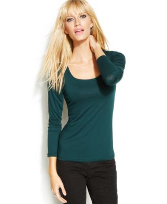 INC International Concepts LongSleeve SquareNeck Top