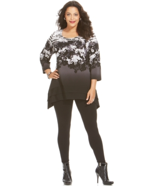 Style & co. Plus Size Floral Tiered Top