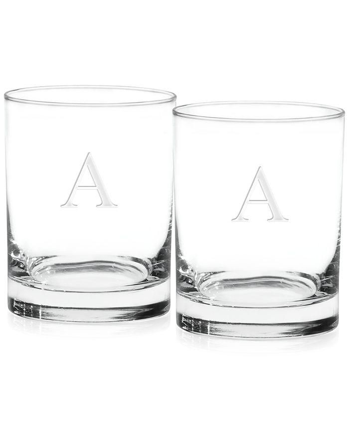 Culver - Glassware, S/2 Monogram Double Old Fashioned Glasses