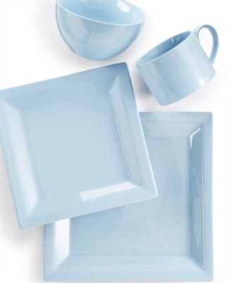Martha Stewart Collection Harlow Shaker Blue Square 4-Piece Place Setting
