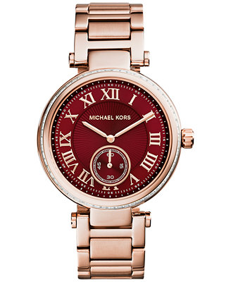 Michael Kors Women's Skylar Rose Gold-Tone Stainless Steel Bracelet Watch 42mm MK6086
