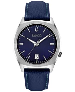 Bulova Accutron Ii Men's Surveyor Blue Leather Strap Watch 41mm 96B212