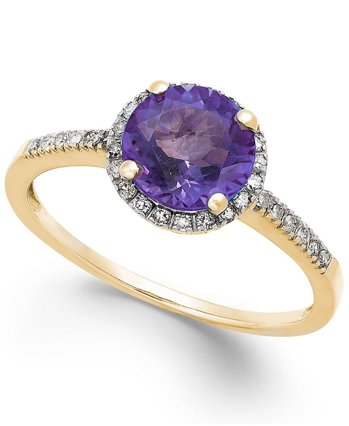 Macy's - Amethyst (1-1/6 ct. t.w.) and Diamond (1/8 ct. t.w.) Ring in 14k Gold