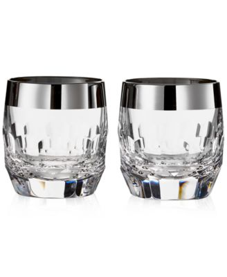 Waterford Mixology Mad Men Edition Draper Double Old Fashioned with Platinum Band, Pair