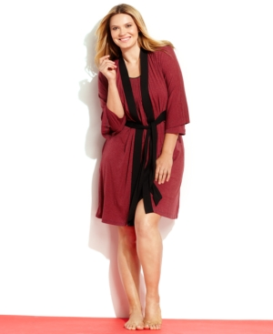 DKNY Plus Size Seven Easy Pieces Stripe Robe