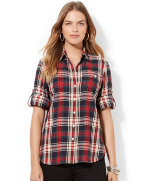 Lauren Ralph Lauren Plus Size Tab-Sleeve Plaid Shirt