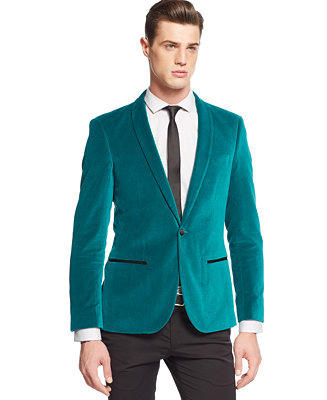 Edge By Wd Ny Teal Velvet Blazer Blazers Amp Sport Coats