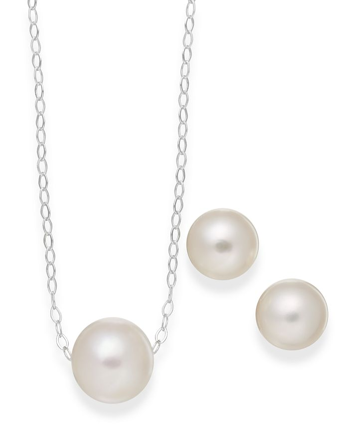 Macy's - Cultured Freshwater Pearl Classic Jewelry Set in Sterling Silver (8-10mm)
