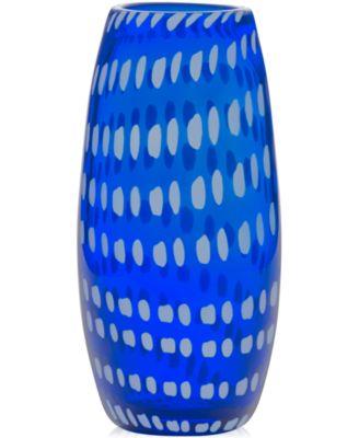 "Mikasa Artisan Series 9.5"" Cobalt Confetti Vase"
