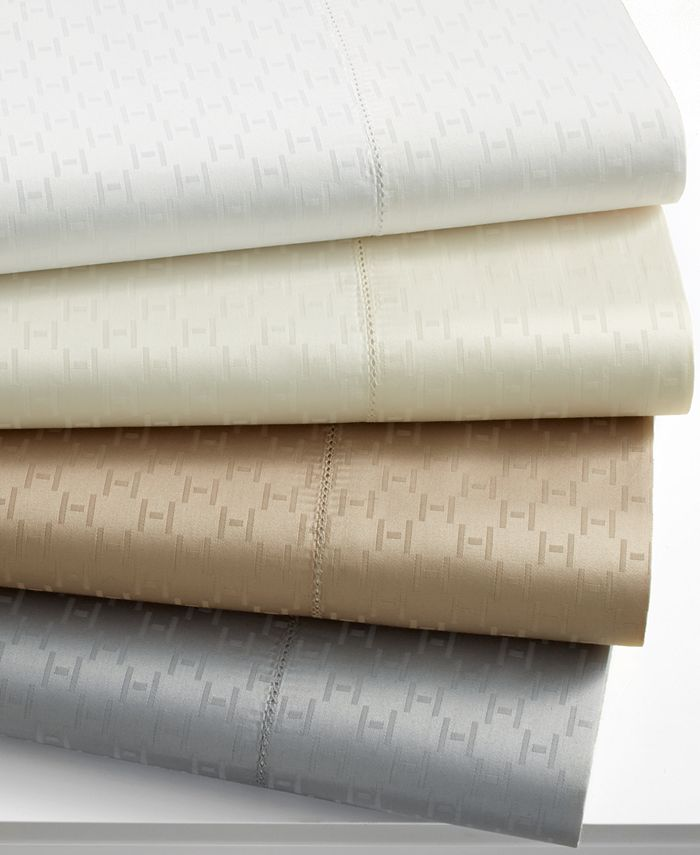 """Hotel Collection - 600 Thread Count """"H"""" Dobby Queen Flat Sheet"""