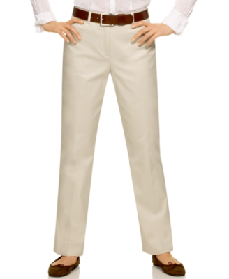 Jones New York Signature Petite Pants, Classic Cotton Straight Leg, Stone - Pants & Shorts
