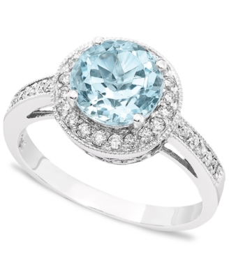 14k White Gold Round-Cut Aquamarine (1-3/4 ct. t.w.) & Diamond (1/3 ct. t.w.) Ring