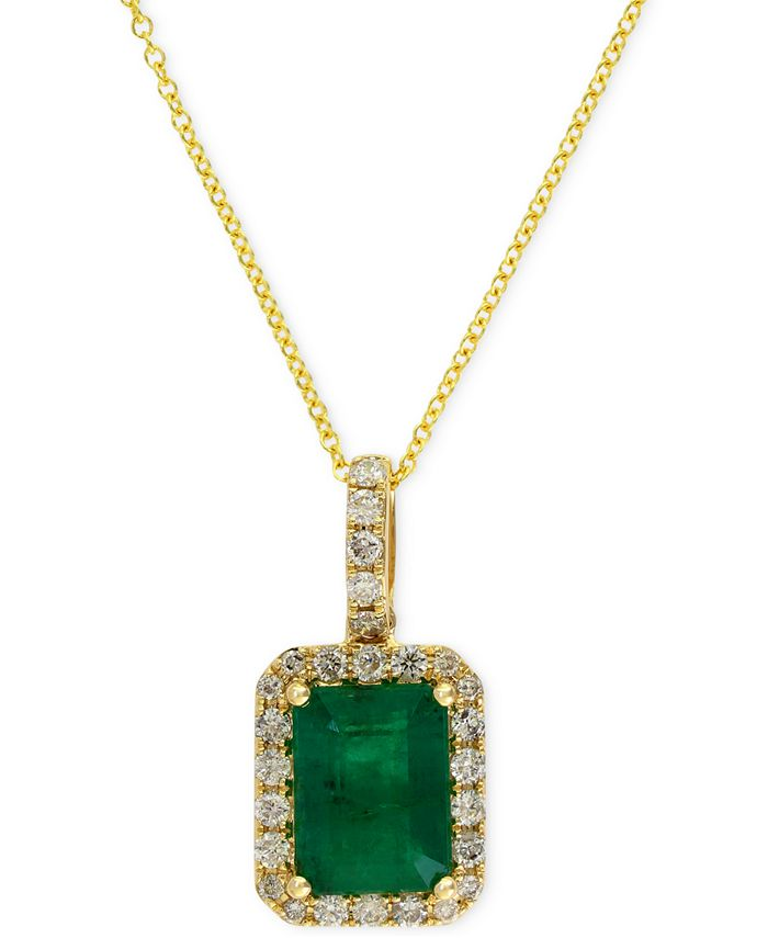 EFFY Collection - Emerald (1-3/8 ct. t.w.) and Diamond (1/4 ct. t.w.) Pendant Necklace in 14k Gold
