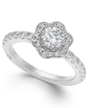 Fleur by Marchesa Certified Diamond Flower Engagement Ring in 18k White Gold (1-1/4 ct. t.w.)