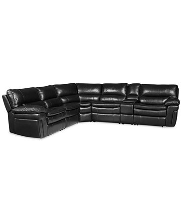 Xander leather 6 piece sectional sofa with 2 power for Xander sectional sofa
