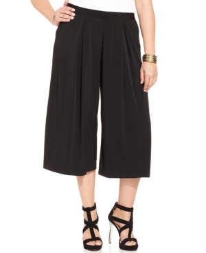Ny Collection Plus Size Pleated Wide-Leg Gaucho Pants