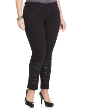 Seven7 Jeans Plus Size Studded Skinny Jeans, Black Rinse Wash
