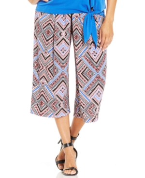 Ny Collection Plus Size Pleated Geo-Print Wide-Leg Gaucho Pants