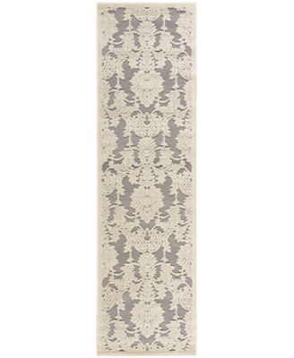 "Nourison East Hampton Damask Nickel 2'3"" x 8' Runner Rug"