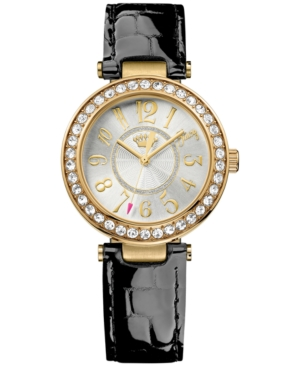 Juicy Couture Women's Luxe Couture Black Croc-Embossed Leather Strap Watch 34mm 1901193