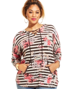 Eyeshadow Plus Size Striped Floral-Print Hoodie