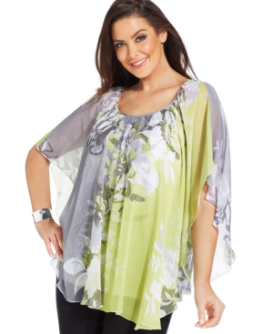 Jm Collection Plus Size Short Sleeve Printed Top