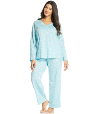 Charter Club Plus Size Long Sleeve Top and Pajama Pants Set