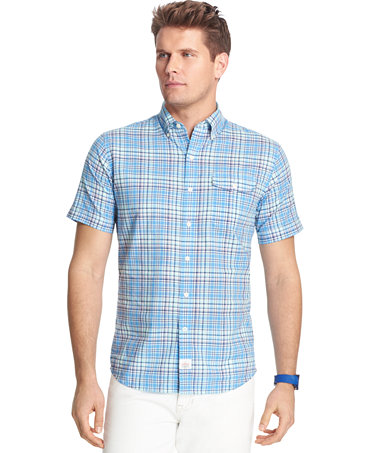 Izod big and tall plaid short sleeve shirt casual button for Big and tall button up shirts