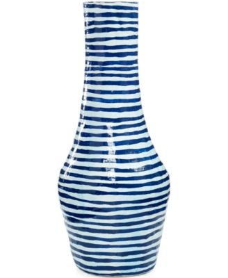 Heart of Haiti Skinny Blue Striped Papier Mache Vase