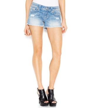 Miss Me Distressed Jean Shorts, Medium Blue Wash