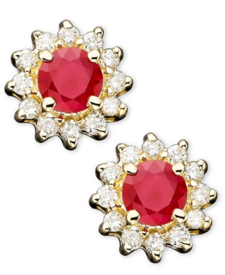14k Gold Ruby (5/8 ct. tw.) & Diamond (1/4 ct. tw.) Studs