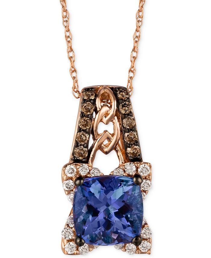 Le Vian - Tanzanite (1-3/8 ct. t.w.) and Diamond (1/3 ct. t.w.) Pendant Necklace in 14k Rose Gold
