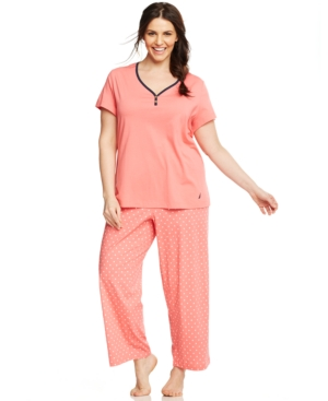 Nautica Plus Size Dot Top and Pajama Pants Set