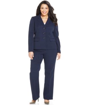 Le Suit Plus Size Crepe Notched-Lapel Pantsuit