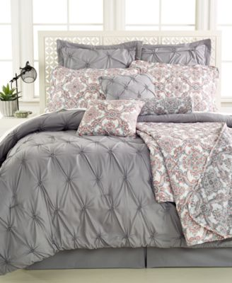 CLOSEOUT! Jasmine Grey 10-Pc. Queen Comforter Set