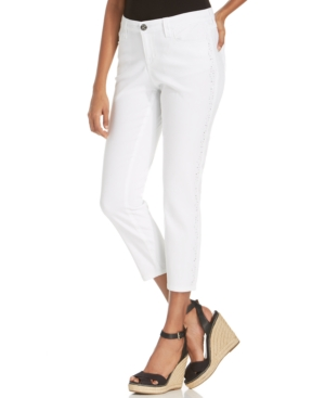 Style & co. Petite Curvy Embellished Bright White Wash Capri Jeans