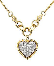 D'Oro by EFFY® Diamond Pavé Diamond Heart Pendant (3/4 ct. t.w.) in 14k Gold and 14k White Gold