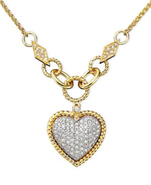 D'Oro by Effy Collection Diamond Pavé Diamond Heart Pendant (3/4 ct. t.w.) in 14k Gold and 14k White Gold
